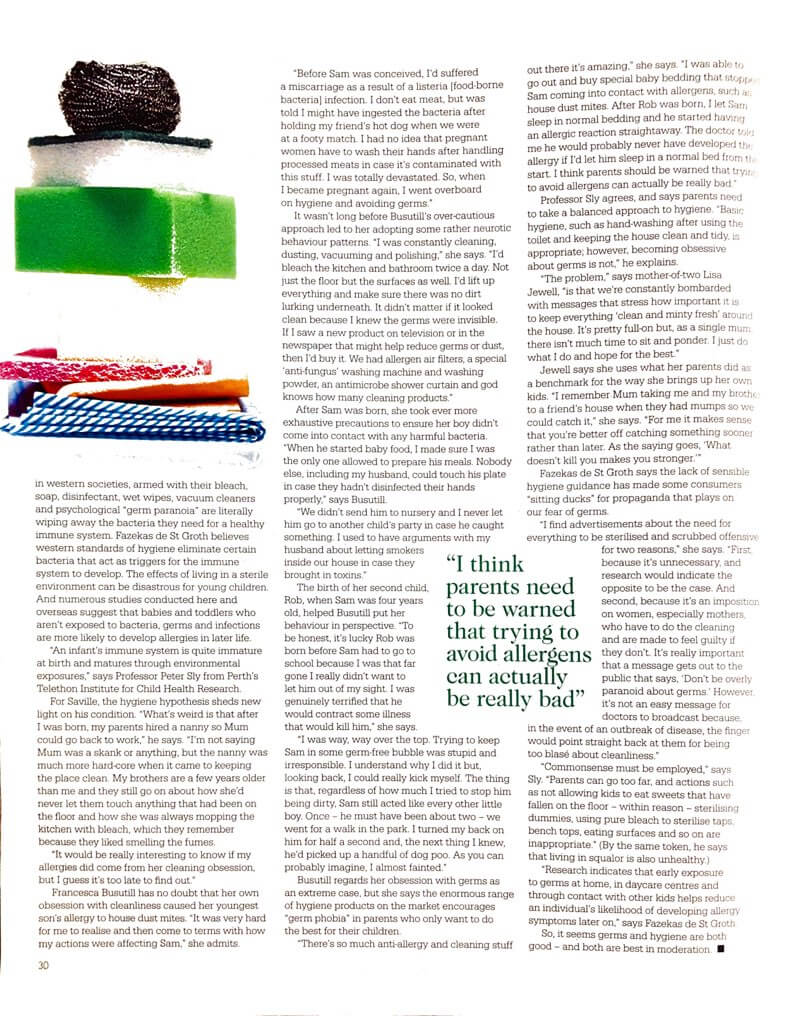 Second page of feature extract from Sunday Magazine