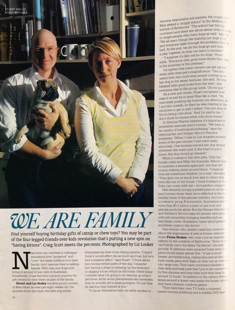 Story about pets and their owners in Sunday Magazine