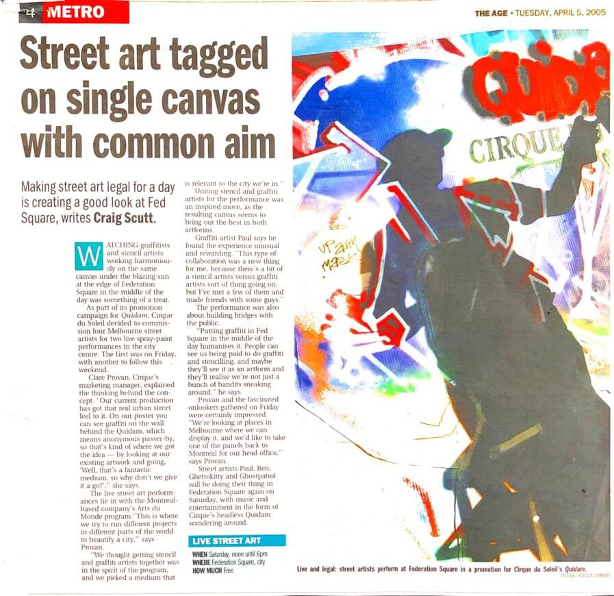 Story about street artists in The Age