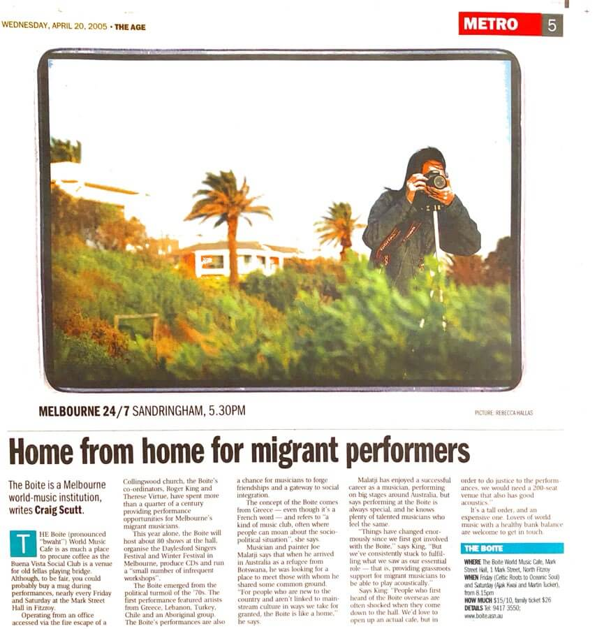 Story about migrant performers in The Age