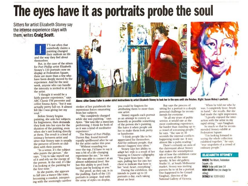 Story about artist Elizabeth Stoney in The Age