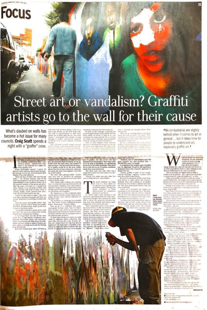 Story about graffiti in The Age, News section